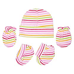 132 New Born Baby Premium Quality Cotton Cap, Mittens and Socks   0-6 Months