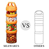 Tritan Portable and Stackable 4-Piece Twist Lock Storage Container and Jars to Store Food, Formula, Supplements, Snacks, Nuts, Drinks and More, BPA and Phthalate Free, (910ML, Orange)
