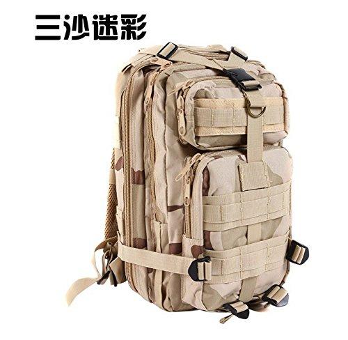 Multifunktionale Schulter Taschen Outdoor Freizeit Rucksack camouflage Wandern camping Rucksack 43 * 26 * 23 cm, CP Farbe Drei Sand camouflage
