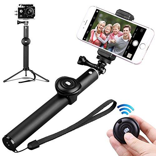 Bastone Selfie Treppiede Bluetooth,Zenoplige 3 in 1 Selfie Stick Bluetooth Aggiustabile Treppiede per Smartphone e Gopro,Compatibile con iPhone X 8 7 7 plus 6 6s 6s plus Samsung Galaxy s7 edge Huawei p9 lite.