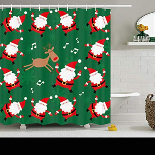 Duschvorhänge/Badvorhänge, Shower Curtains Sets with Hooks 78 x 72 Inches Snowflakes Christmas Santa Claus Dancing Panels New Art Holidays Waterproof Polyester Fabric Bath Bathroom Curtain -