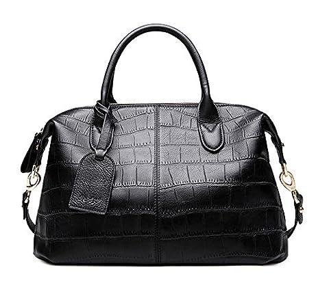 Xinmaoyuan Handtaschen der Frauen Sommer Dame Handtasche Kopf Schicht Rindsleder Krokodil Muster Knödel Tasche großer Beutel reine Farbe Oval Umhängetasche, schwarz
