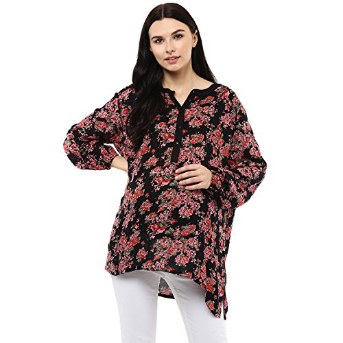 Wobbly Walk Women's Round Neck, Full Sleeves, Floral Print, Maternity Tunic, Black