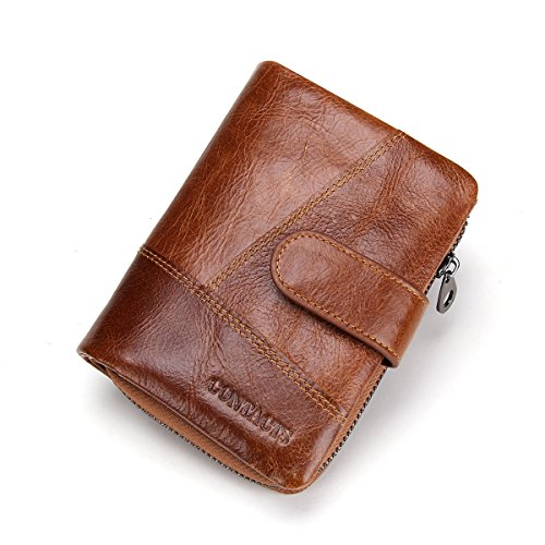 Contacts Mens Real Leather Bifold Wallet with Coin Pocket Purse Pouch Brown (Wallet Coin Pocket)