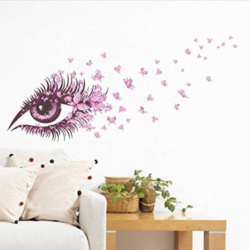 VOVO Wohnkultur❤️❤️Vovotrade DIY Wandaufkleber 3D Schöne Mädchen Auge Rosa Schmetterling Dekor Wohnzimmer Dekor DIY Kunst Wandaufkleber Chic Aufkleber (Lila, 60x45cm (23x17 inch))