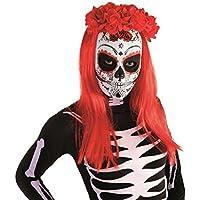 Color Rojo y Negro No es No es Applicable 44963 Smiffys Smiffys-44963 Diadema Deluxe del d/ía de Muertos y con Rosas y Velo