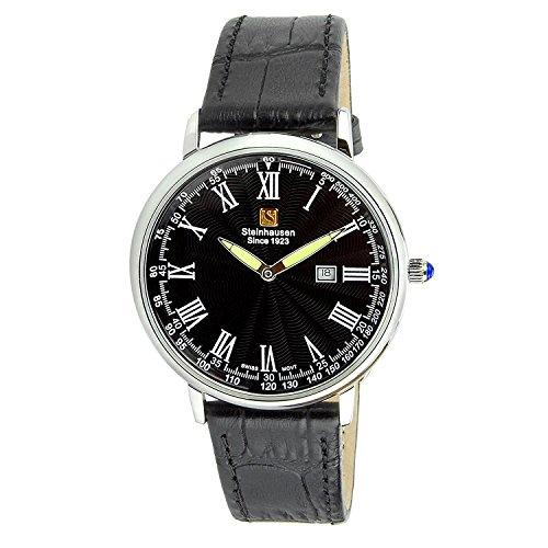 "Steinhausen Classic Men's S0121 ""Altdorf"" Cuarzo suizo fino reloj de pulsera de cuero negro de acero inoxidable"