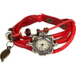 Bohemian Style [Waterproof] Retro Handmade Leather [Angel Wing Pendant Wrist Watch] Fashionable, Luxury & Stylish Weave Around [Wrap Watch Bracelet] For Women Ladies Girls. [Scratch Resistant]- Red