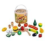 Unbekannt Obst und Gemüse zum Schneiden, aus Holz, inkl. Messer, 30 Teile: Zubehör für Kinder Spielzeug Küche Kaufladen