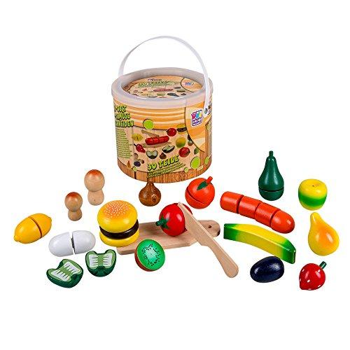 Preisvergleich Produktbild Obst und Gemüse zum Schneiden, aus Holz, inkl. Messer, 30 Teile: Zubehör für Kinder Spielzeug Küche Kaufladen
