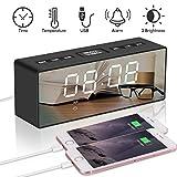 """RCruning-EU Despertador Multifunción 6.5"""" Reloj Despertador Digital Espejo LED Despertador Electrónico Radio FM con Dual USB Puertos Big Snooze Button"""