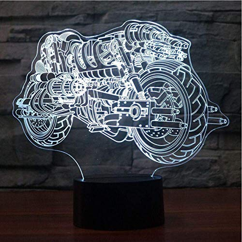 Kreative Illusion LIEBE Weihnachten Halloween Kühles Nachtlicht des Motorrad-Modell-3D mit Noten-Schalter führte die bunte Baby-Schlafenatmosphäre der Tischlampe-3D, die Hauptdekor beleuchtet