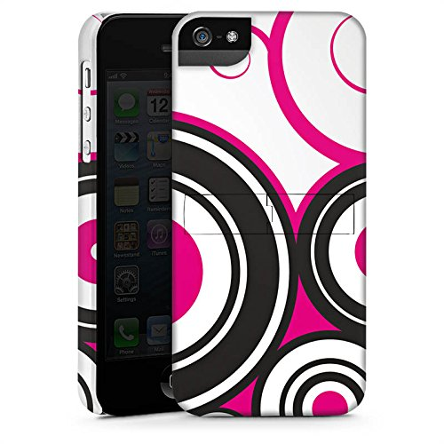 Apple iPhone 5s Housse étui coque protection Cercles Vrilles Rose vif CasStandup blanc