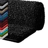 Badematte Hochflor Sky Soft | Weicher, Flauschiger Badezimmerteppich in Shaggy-Optik | Badvorleger Rutschfest waschbar | Öko-Tex 100 Zertifiziert | 16 Farben in 6 Größen (80x150 cm, schwarz)
