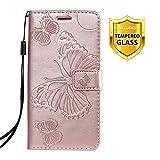 Boloker Funda para Nokia 9 PureView,Relieve Dibujo Carcasa de Tipo Libro con Ranuras para Tarjetas de Soporte y Solapa Cubierta Carcasa Case Fundas Case Cover,Oro Rosa