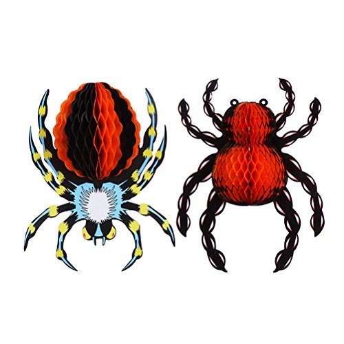 2PCS 3D Paper Spider Ornaments Realistic Hanging Ornaments Halloween Hanging Decoration for Special Events(Red + Blue)