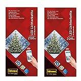 Idena LED Lichterkette 200er, ca. 27,90 m, für innen/außen, warm weiß (2er Pack / 200 LEDs/per Smartphone steuerbar)