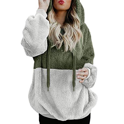 Women Hoodie TUDUZ Ladies Plus Size Long Sleeve Warm-up Faux Fur Zipper Pocket Fleece Hooded Sweatshirt Oversized Coat(D Green,S=UK(10))
