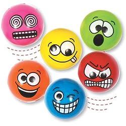 Baker Ross Bolas de Goma con Caras Divertidas. Juguetes Rellenos para piñatas, Bolsas de Juegos con recompensa e Ideas Regalo (Pack de 6).