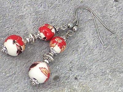 Boucles d'oreilles avec perles fines en porcelaine imprimé florale rouge et blanc, perle tibétaine et crochet en acier inoxydable