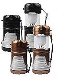 ZERO FAN Camping Lichter Camping Laterne Solarleuchten Notleuchten Handliche Taschenlampe-Faltbare Solarpanel USB 220 V DC Aufladen Für Camping Wandern Angeln Notfall,Gold