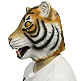 Cusfull Deluxe Novelty Latex Rubber Creepy Magical Full Overhead Mask Halloween Fancy Dress Party Costume Decorations (Tiger)