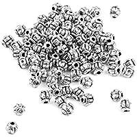 100x 4mm Perline Metallo Zucca Argento Pendente Collana Bracciale Charms