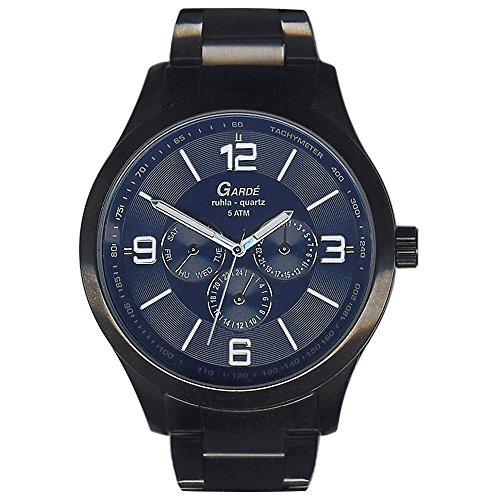 GARDE Herren-Armbanduhr Elegant Analog Edelstahl-Armband schwarz grau Quarz-Uhr Ziffernblatt blau UGA22422