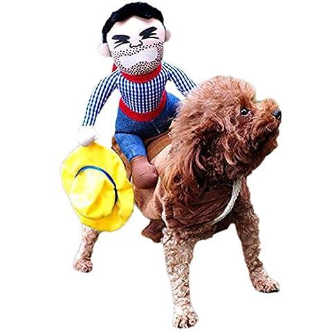 dairyshop Funny Riding Horse Cowboy Pet Dog Kostüme, Puppy Katze Halloween Party Kostüm Kleidung (Baby-kürbis-kostüm Uk)