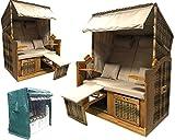 das wohnwerk Zweisitzer Strandkorb Nordsee de Luxe - Exklusiv für Amazon im Komplettset - mit Schutzhülle + 4 Kissen!