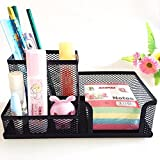 #9: MeRaYo™ Metal Mesh 3 Compartments Desk Organiser/Stationery Stand For Office And Students(Black)