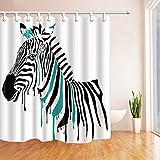 Dernière multicolores Zebra 3D Shark Digital Pattern Print Set de rideau de douche rideau mildiou résistant à Polyester plastique étanche Salle de bains inclus fantastique Décorations Crochets, Noir/vert, 180*210cm