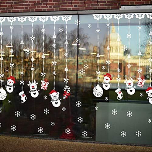 EDOTON Fensterbilder Weihnachten Selbstklebend Abnehmbare Fensterdeko Statisch Haftende PVC Aufkleber Winter Dekoration Fensterdeko Set 4 Blatt -