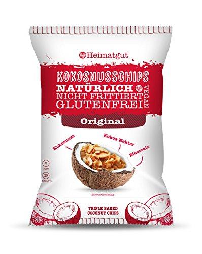 Heimatgut Kokosnusschips Original ( 6 x 40g ) 3-fach gebackene Chips aus Kokosnuss. Veganer und glutenfreier Snack in der Geschmacksrichtung Original (Chips Gebacken)