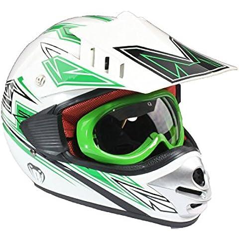 Casco protector y gafas para niños - Motocross / todoterreno / ATV - Verde - M (49-50 cm)