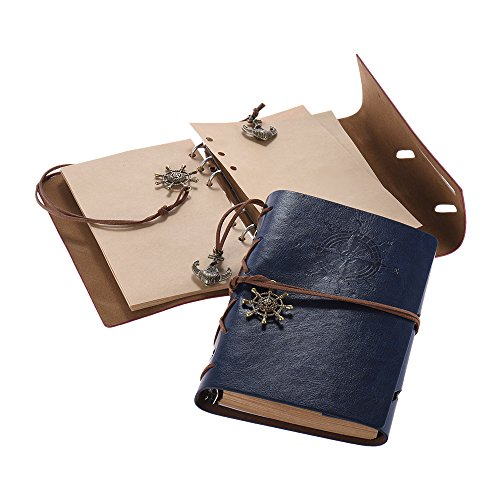Preisvergleich Produktbild Aibecy Klassische PU-Abdeckung Loseblattspiralbindung Blank Notebook Notepad Travel Journal Tagebuch Sketchbook Fotos Album Geschenk für Kinder Freund Brown