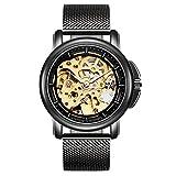 Reloj de pulsera de BesTn, mecánico, automático, estructura de esqueleto, negro y dorado, correa reticulada moderna, de estilo simple, para hombre