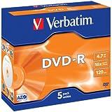 Verbatim 43519 4.7GB 16x DVD-R Jewel Case - Matt Silver (Pack of 5)