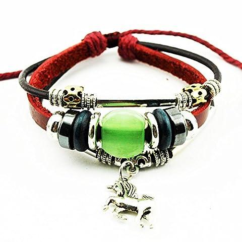 Véritable Spark mixte Rouge Cuir Perles Pendentif cheval Vert Pierre précieuse Tube en métal Bracelet