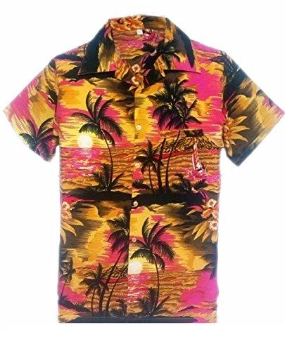 SAITARK-Camisa-casual-con-botones-para-hombre-multicolor-PINK-BEACH-PALM-X-Small