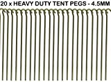 """20 x HEAVY DUTY 9"""" TENT PEGS - 23CM x 4.5MM - MADE FROM GALVANISED STEEL - CURVED HOOK ON TOP - GREAT FOR SECURING TENTS / AWNINGS / GOAL NETS / POND NETTING"""