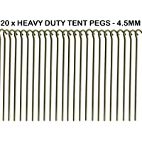 20 x Heavy Duty 9 Tent PEGS - 23CM x 4.5MM - Made from GALVANISED Steel - Curved Hook ON TOP - Great for SECURING Tents/AWNINGS/Goal NETS/Pond Netting by We Search You Save