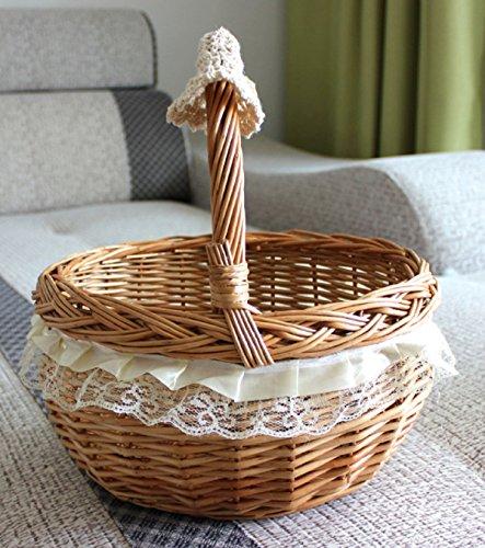 Gwdzx vimini giunco cestini da picnic portatili cestini di uova cesti regalo cesti di frutta cestini per la spesa multicolore,b-27*24*15cm