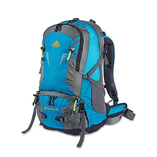 NatureFun Zaino da montagna 50L Impermeabile per campeggio, trekking o escursioni. Con rivestimento per la pioggia (Blu)