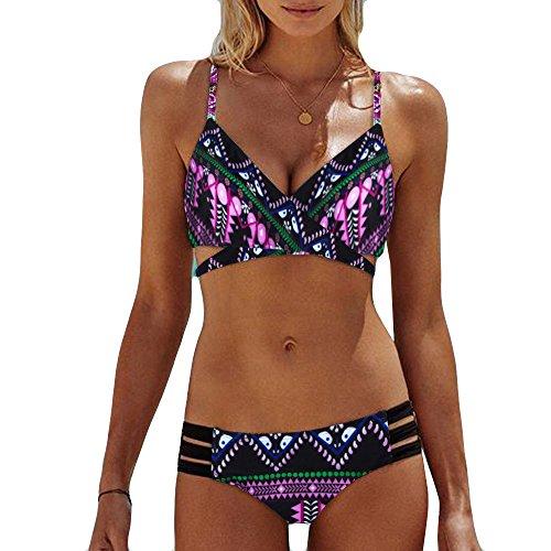 ♥ Loveso♥ 2019 Sommer 2 Pcs Damenbekleidung Frauen Retro Stil Boho Badeanzug Bikini Set Bikinis Tankini Swim Bademode