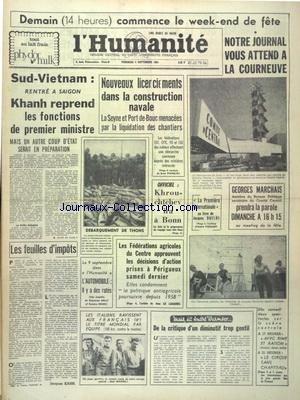 HUMANITE (L') du 04/09/1964 - SUD-VIETNAM - RE...