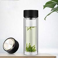 Double Couche Domestique avec Couvercle Tasse en Verre Tasse d eau Portable  Tasse à thé 072a7bba420a