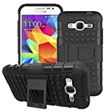 Mobiclonics Get Free Data Cable With Military Grade Back Cover Case with Kickstand for Samsung Galaxy Core Prime(Black)