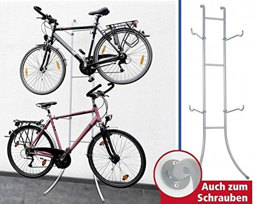 Preisvergleich Produktbild WENKO Fahrradständer DUO - Stahl - MIT oder OHNE Bohren - 220 x 77 x 42,5 cm (HxBxT) - Fahrradhalter