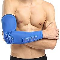 Wenquan,Baloncesto Fútbol Disparo Extendido Brazo único Codo Manga Pad Protector Protector(Color:Azul,Size:SG)